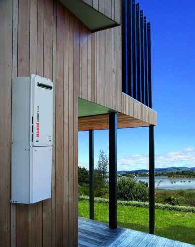 Rinnai Infinity Lifestyle gas hot water heater fitted to the side of a house